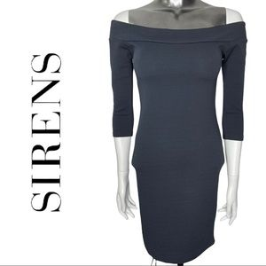 Revamped by Sirens Grey Off the Shoulder Bodycon